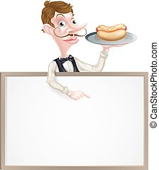Cartoon Waiter Hotdog Sign - An Illustration of a Cartoon...