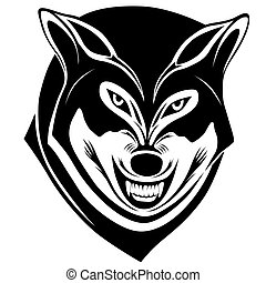 Wolf, tattoo - Wolf with a grin in the form of a tattoo