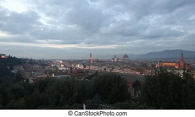 Evening Florence Top View (Italy). - Evening winter Florence...