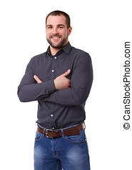Smiling man in black shirt with crossed arms. Isolated on white background