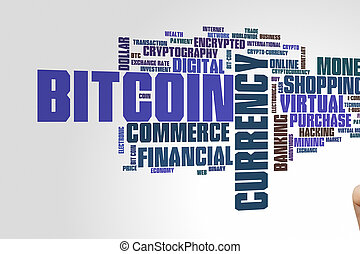 Bitcoin word cloud - Bitcoin concept word cloud background