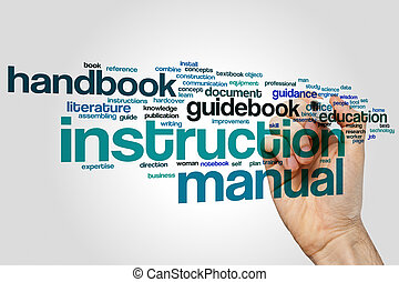 Instruction manual word cloud concept - Instruction manual...
