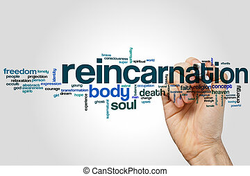 Reincarnation word cloud concept with body soul related tags
