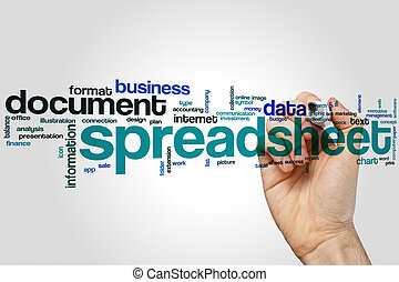 Spreadsheet word cloud concept with document data related...
