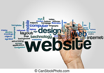 Website word cloud concept with internet design related tags