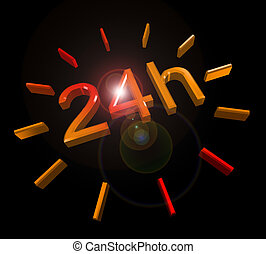 24 hours around the clock symbol - 24 h round the clock 3D...