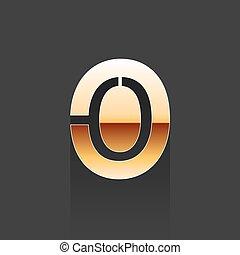 Vector Gold Letter O Shape Logo Element