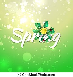 Green spring abstract background.