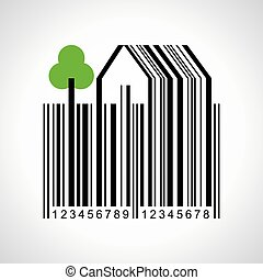 illustration of bar-code make a farmland