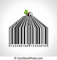 bar-code make a farmland - illustration of bar-code make a...