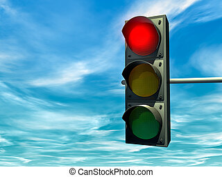 Red traffic light - City traffic light with a red signal
