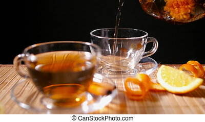 Pouring Blooming Tea with Cinnamon
