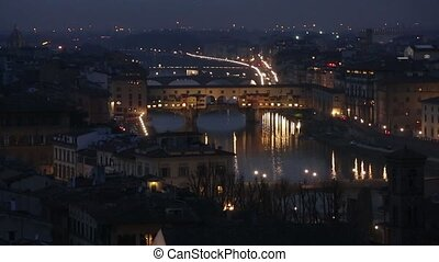Night Florence Top View (Italy). - Night winter Florence...