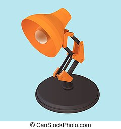 reading desk lamp isometric vector isolated illustration....