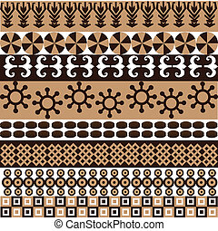 Ethnic pattern with african symbols and ornaments