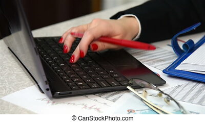 Accountant Writing Amount Of Earnin - Woman Accountant...