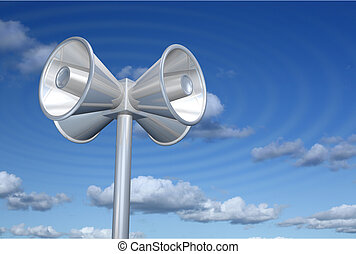 Loudspeakers - Chromed loudspeakers with sky background and...