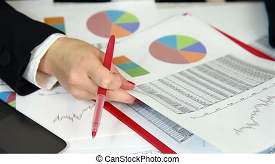 Businesswoman Audit Financial Reports, Extra Close Up