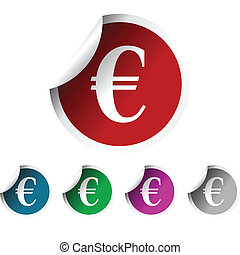 Fresh labels with euror symbol, colored stickers - Fresh...