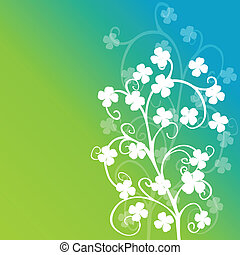 Clovers foliage on green background
