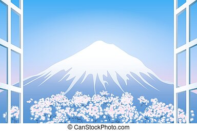 Cherry Blossoms around Mount Fuji View from window