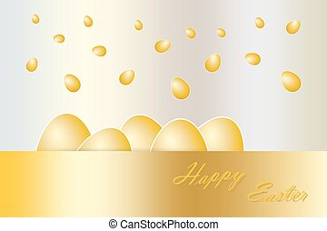 Falling golden eggs vector - Five golden eggs with white...