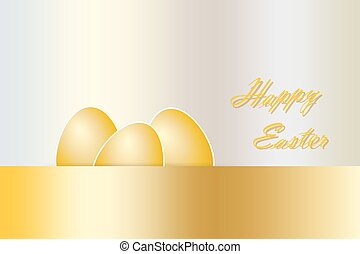 Golden Happy Easter card vector - Three golden eggs with...