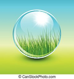Green natural background, sunny spring design