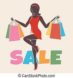 Shopping woman silhouette drawn in retro style. free font...