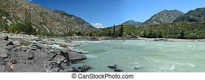 sandy beach on the river Katun, Altai Mountains, Siberia,...