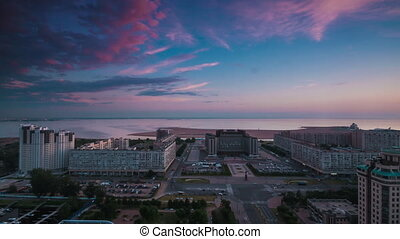 Top View On The City St-Petersburg - Time lapse shot of the...