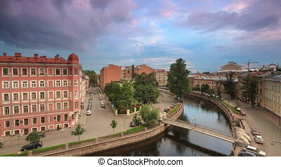 Griboyedov Canal In St. Petersburg - Time lapse shot of the...
