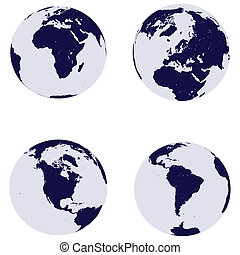 Earth globes with 4 continents