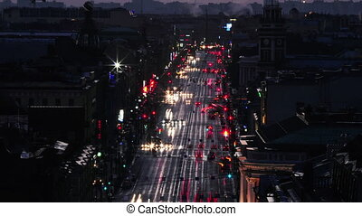 Nevsky Prospekt With Cars - Time lapse shot of the Nevsky...