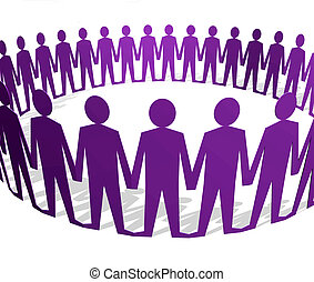Human figures holding hands in a circle - Paper doll type...