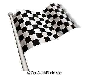 Winner\'s chequered flag - Checkered flag flying for the...