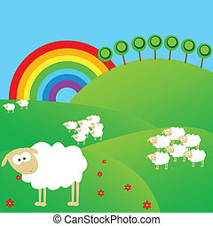 Summer landscape with sheeps and rainbow