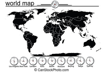 Detailed world map with country borders and time in main...