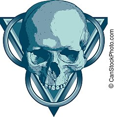 Skull Illuminati - Skull with triangles and circles on white...