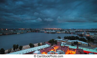 View Of St. Petersburg. Vasilyevsky - Time lapse shot of the...