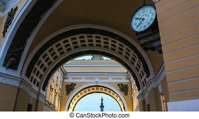 Arch Of The General Staff - Time lapse shot of the clock on...