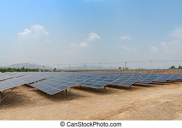 The solar farm for green energy in Thailand - The solar farm...