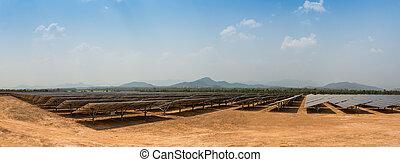 The solar farm for green energy in Thailand - The solar farm...