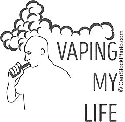 Logo or the man's emblem with an electronic cigarette