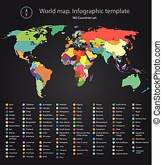 World map infographic template 140 countries - World map...