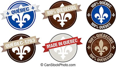 Quebec label designs - set of Quebec province labels designs