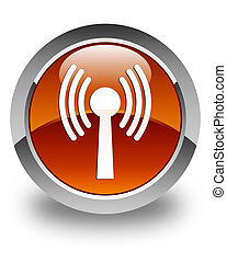 Wlan network icon glossy brown round button