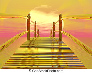 Golden bridge to sun - 3D render - Golden bridge leading to...