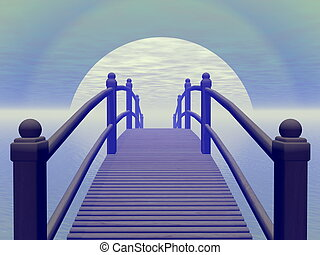 Bridge to blue sun - 3D render - Bridge leading to blue sun...