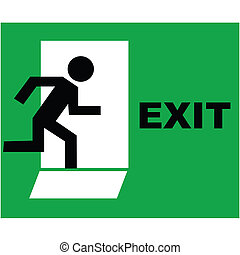 exit sign icon - Emergency exit sign icon